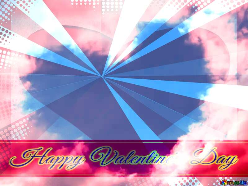 Heart of clouds Greeting card retro style background Lettering Happy Valentine`s Day №22604