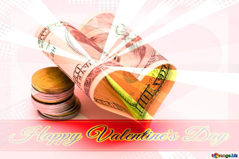 Heart of money Greeting card retro style background Lettering Happy Valentine`s Day №16739