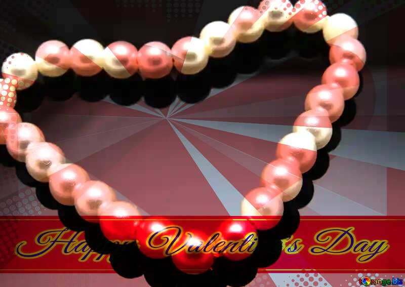 Heart of Pearls Greeting card retro style background Lettering Happy Valentine`s Day №18269