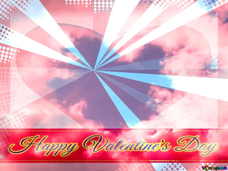 Heart in the sky Greeting card retro style background Lettering Happy Valentine`s Day №22605