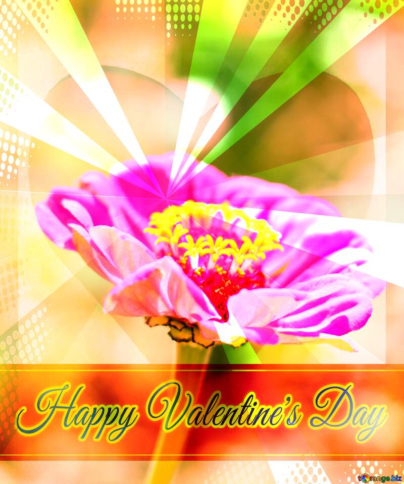 Major flower Greeting card retro style background Lettering Happy Valentine`s Day №33439