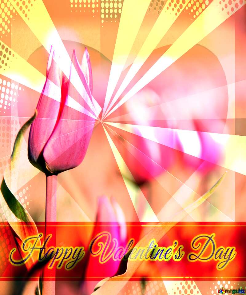 Pink flower of tulip Greeting card retro style background Lettering Happy Valentine`s Day №1660