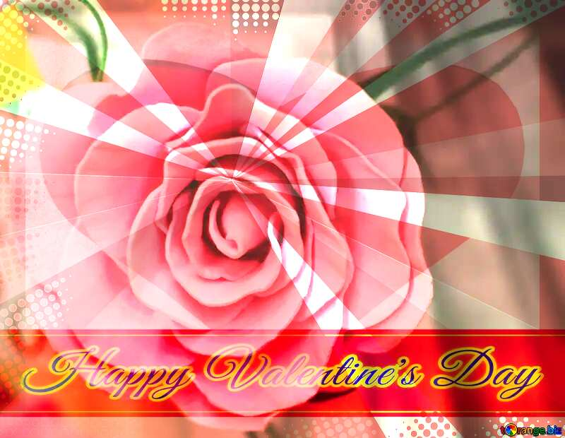 Rose flower from foamirana Greeting card retro style background Lettering Happy Valentine`s Day №48638