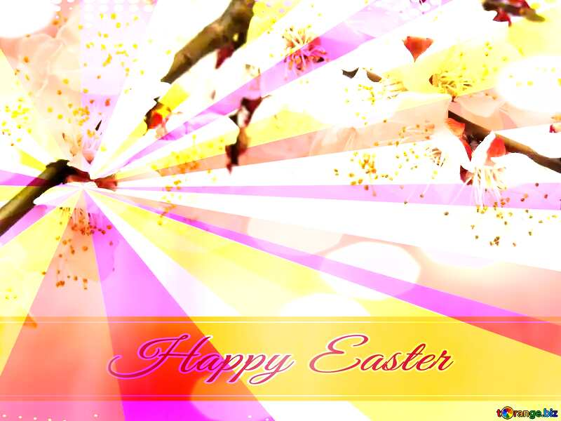 Spring blossoms Card with Happy Easter write text on Colors rays background №30029