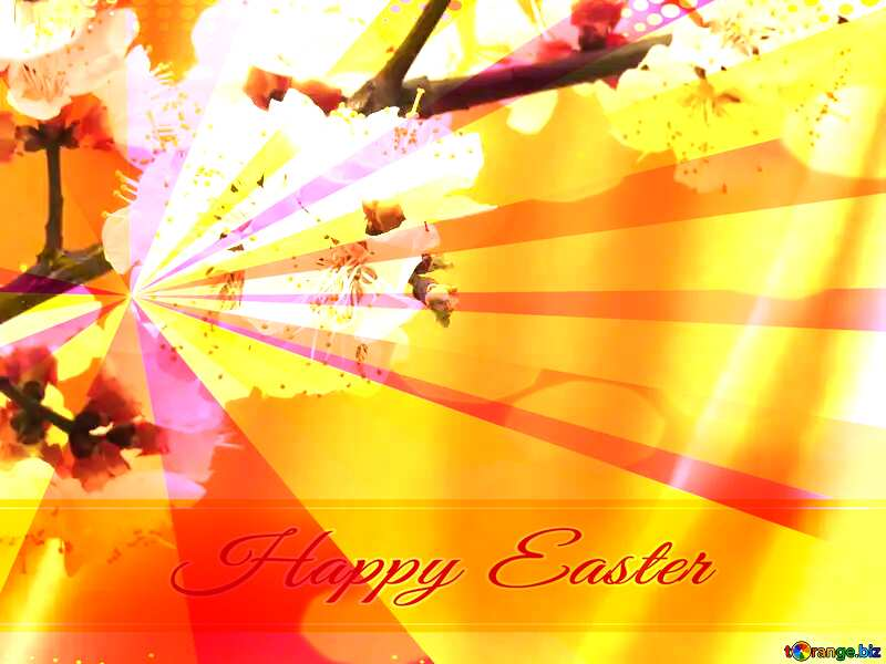 Spring flowering tree Card with Happy Easter write text on Colors rays background №29950