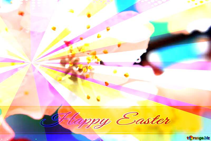 Spring mood Card with Happy Easter write text on Colors rays background №29888