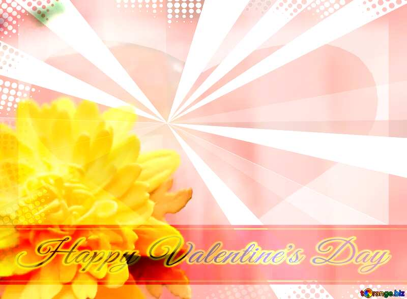 Yellow flower of foamirana Greeting card retro style background Lettering Happy Valentine`s Day №48635