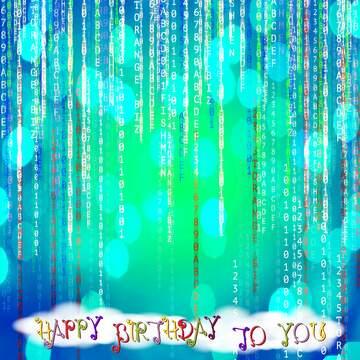 L'effetto della luce. Colori chiari. Postcard buon compleanno in inglese.