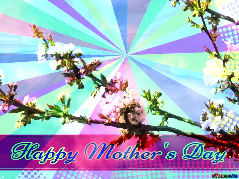 The arrival of spring Retro style card for Happy Mother`s Day with Colors rays №24414
