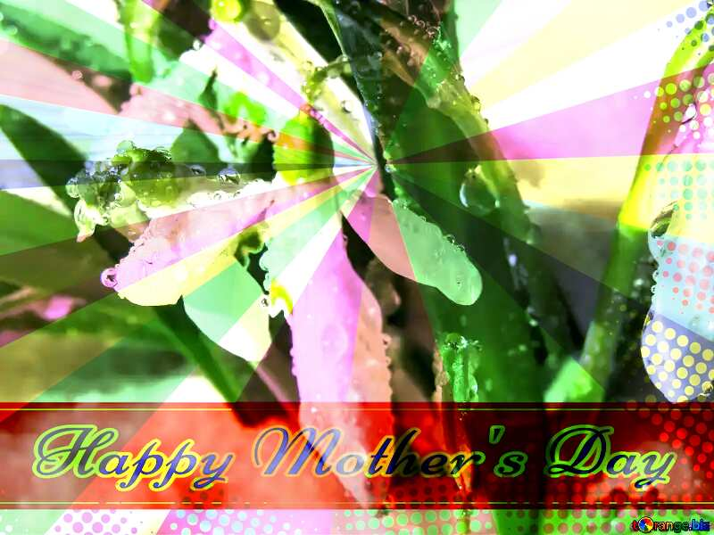 Background nature spring Retro style card for Happy Mother`s Day with Colors rays №38394