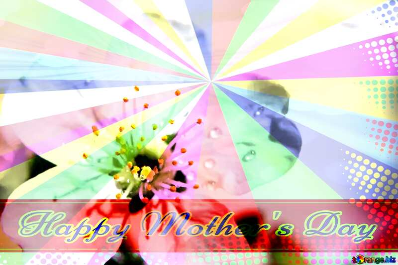 Background spring tenderness Retro style card for Happy Mother`s Day with Colors rays №27075