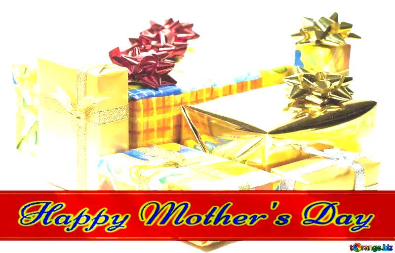 Boxes   gifts  at  White  background Red ribon with Lettering Happy Mothers Day №6728