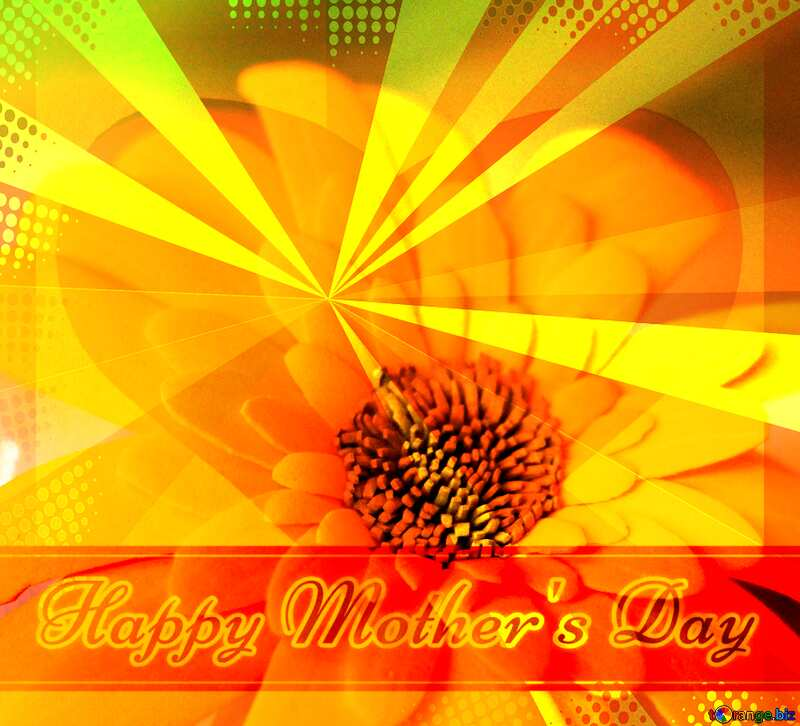 Gerbera flower Creating card for  Happy Mother`s Day background with heart and rays №48630