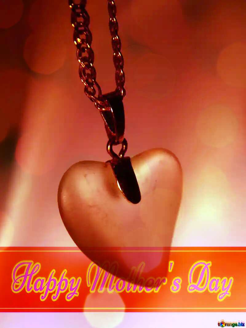 Gift as token of eternal love. Happy Mother`s Day card with blue sky Bokeh background №3593