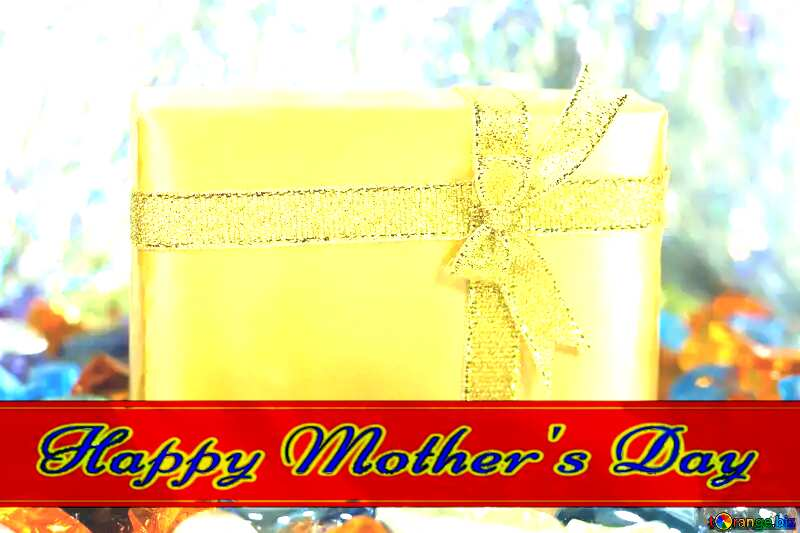 Gift . Gold. Red ribon with Lettering Happy Mothers Day №6705