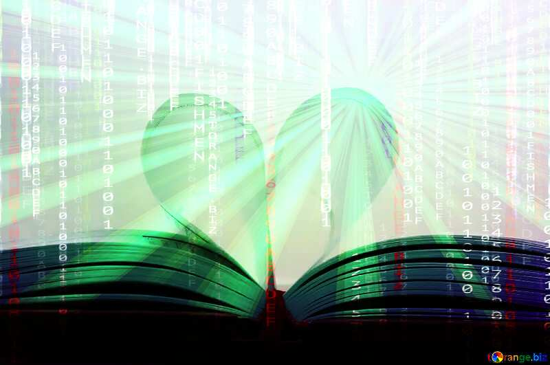 Heart of books Digital matrix style background overlay Rays of sunlight №16081