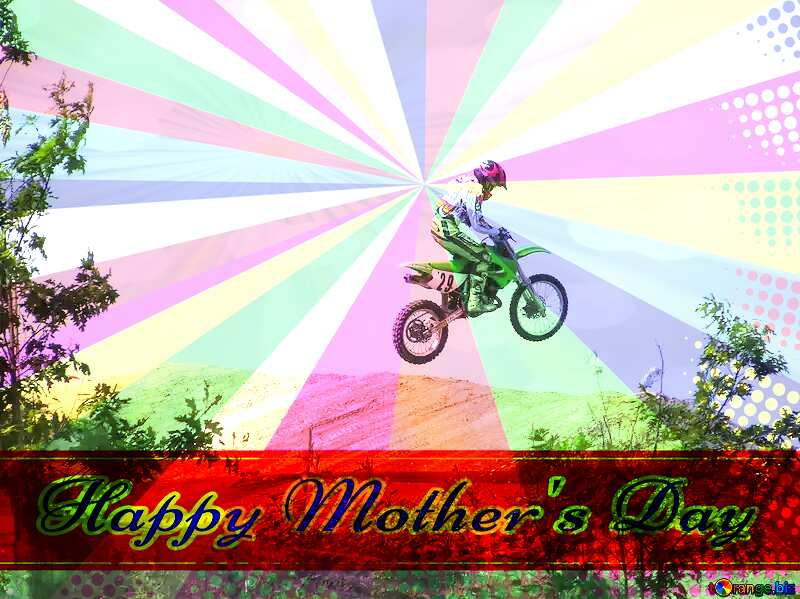 Jump  at  springboard. Retro style card for Happy Mother`s Day with Colors rays №7813