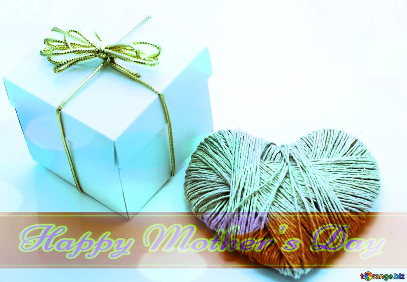 A love gift Happy Mother`s Day card with blue sky Bokeh background №16364