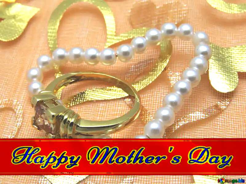 A love gift Red ribon with Lettering Happy Mothers Day №18281