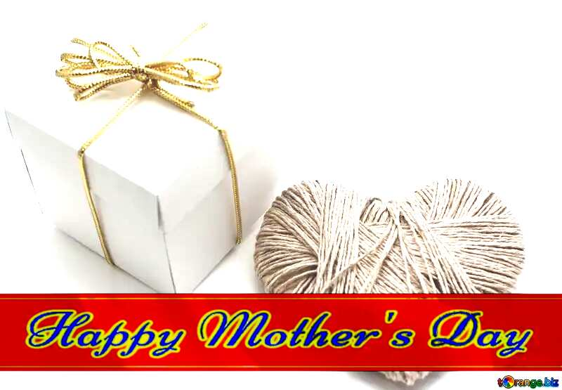 A love gift Red ribon with Lettering Happy Mothers Day №16364