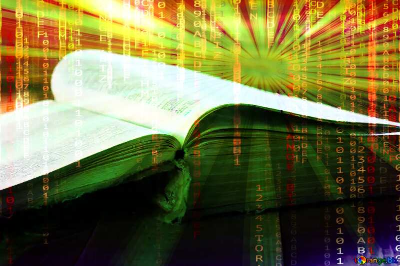 Open book Digital matrix style background overlay Rays of sunlight №33988