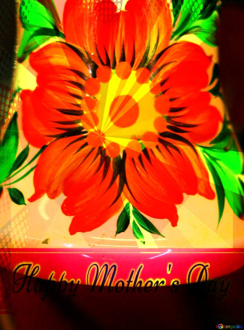 Red paint flower Creating card for  Happy Mother`s Day background with heart and rays №49564