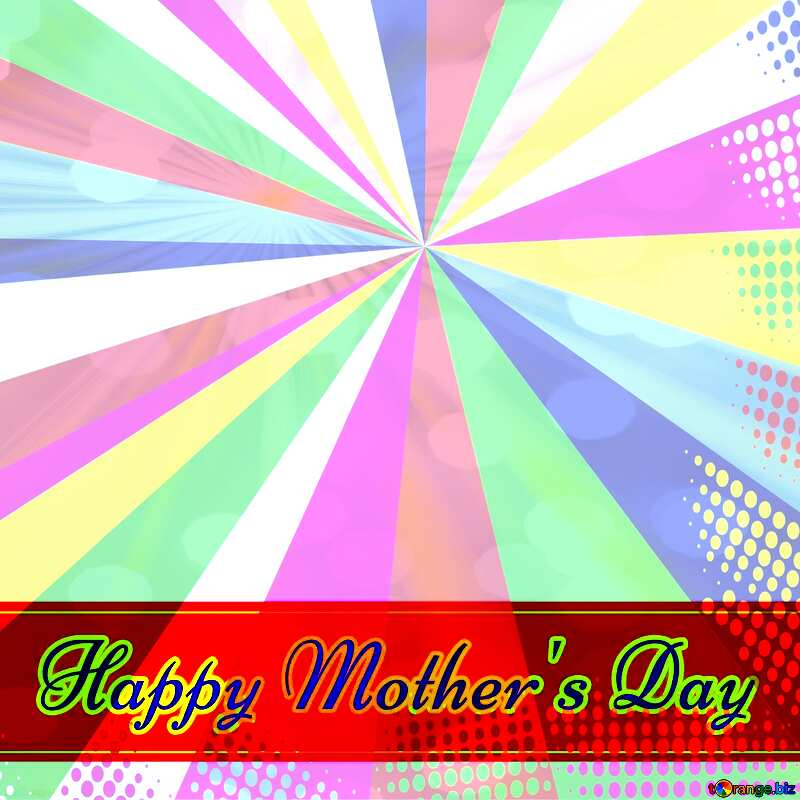 Retro style card for Happy Mother`s Day with Colors rays №49670