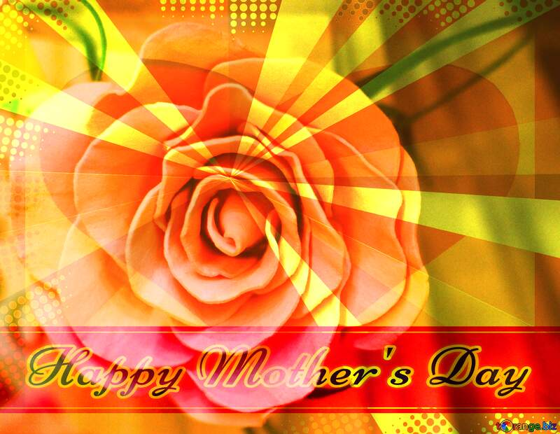 Rose flower from foamirana Creating card for  Happy Mother`s Day background with heart and rays №48638