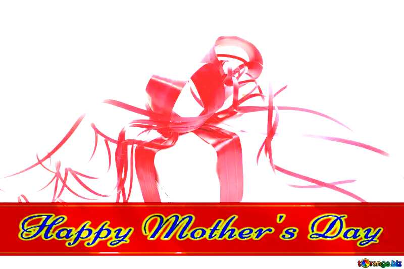 A simple gift Red ribon with Lettering Happy Mothers Day №16335