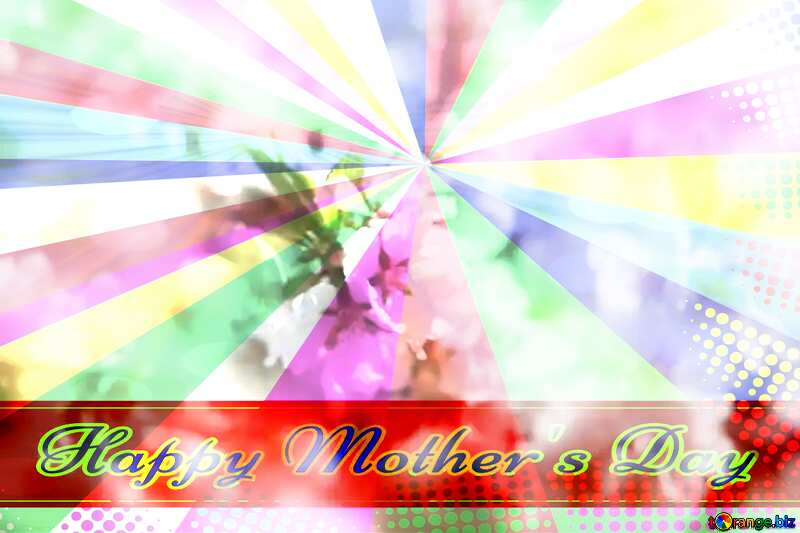 Spring blooming background Retro style card for Happy Mother`s Day with Colors rays №39771