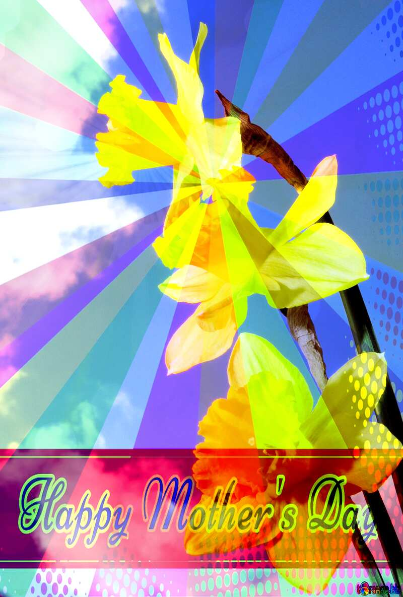 Spring bouquet Retro style card for Happy Mother`s Day with Colors rays №30957