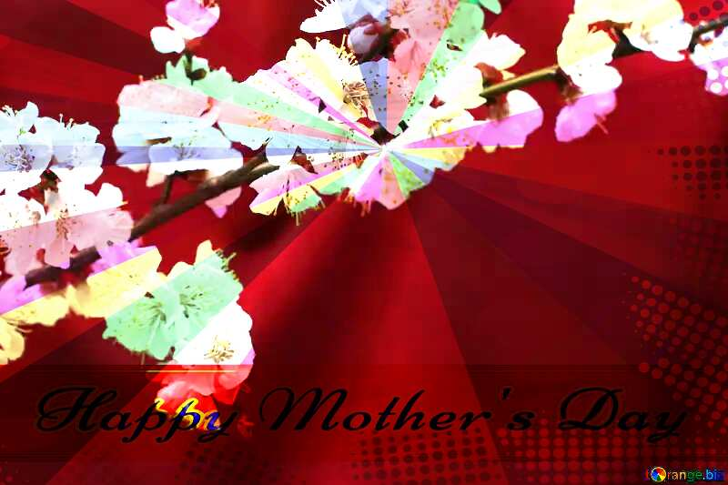 Spring branch on the desktop Retro style card for Happy Mother`s Day with Colors rays №29872