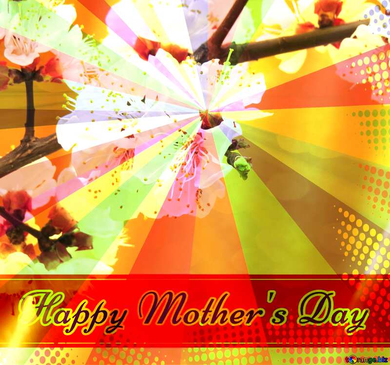 Spring flowering tree Retro style card for Happy Mother`s Day with Colors rays №29950