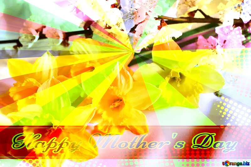Spring flowers Retro style card for Happy Mother`s Day with Colors rays №29971