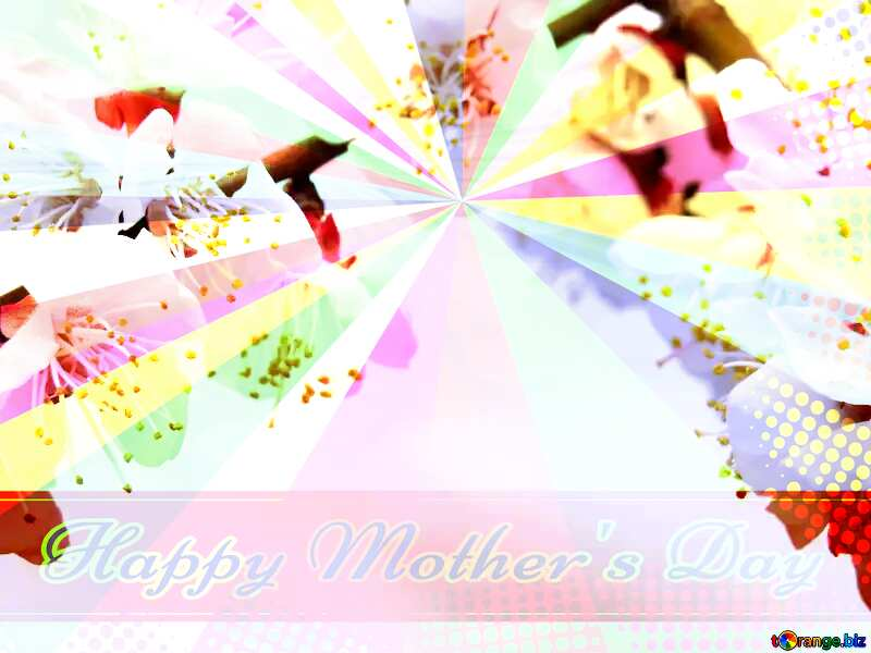 Spring flowers on the tree Retro style card for Happy Mother`s Day with Colors rays №30025