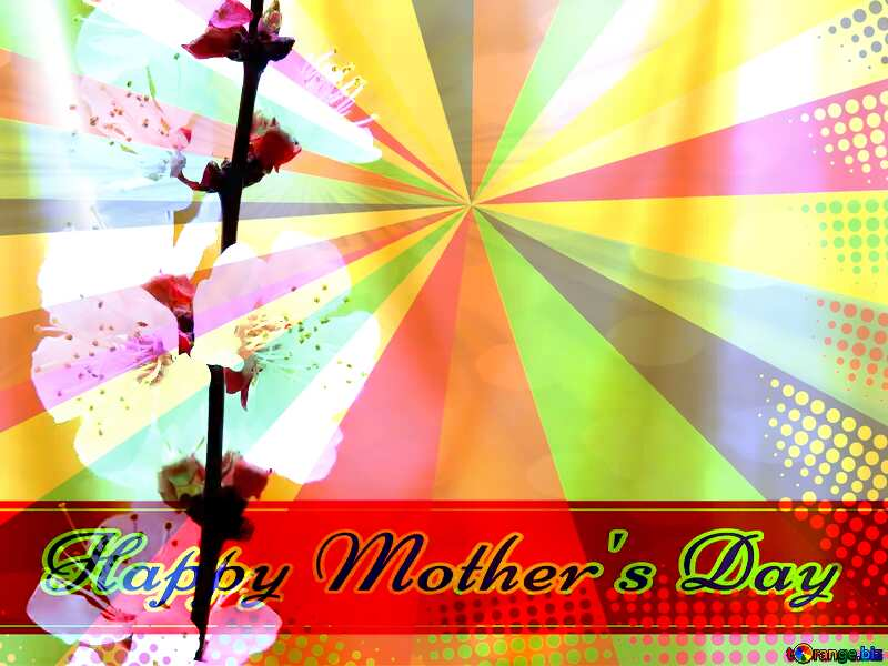Spring golden background Retro style card for Happy Mother`s Day with Colors rays №29937