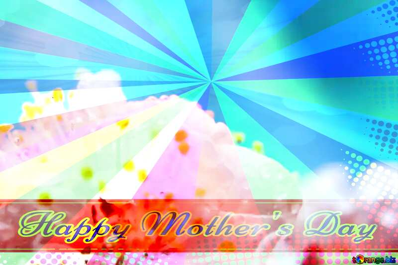 Spring tenderness Retro style card for Happy Mother`s Day with Colors rays №29881
