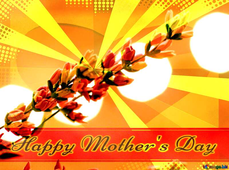 Wild flower Creating card for  Happy Mother`s Day background with heart and rays №48637