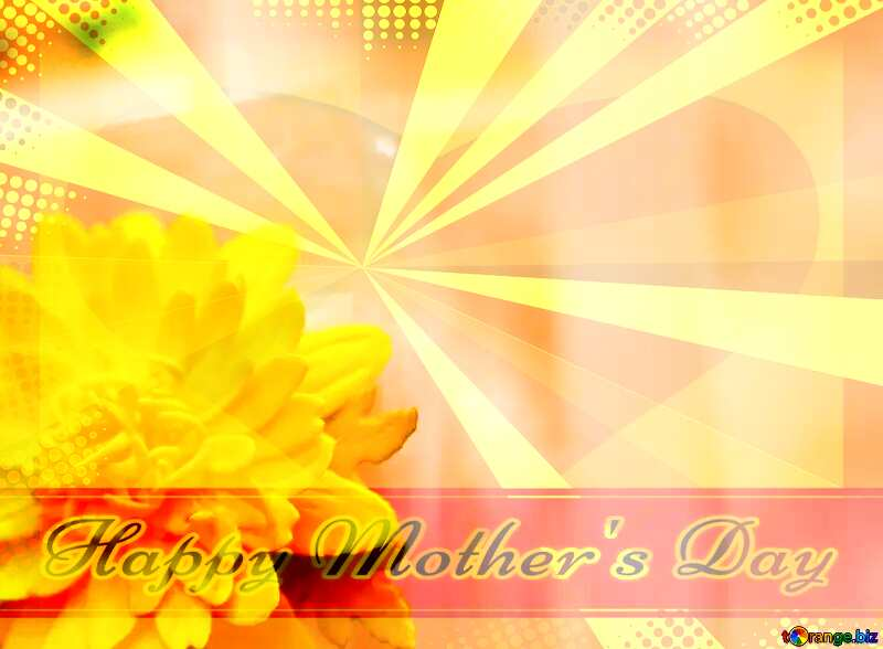 Yellow flower of foamirana Creating card for  Happy Mother`s Day background with heart and rays №48635