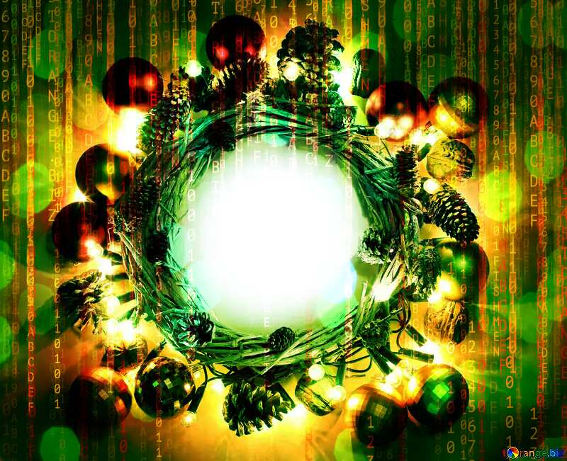Christmas wreath background with space for text Digital holiday background №48047