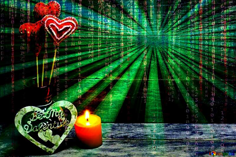 Love background with candles Digital Abstract technology background with binary code and sunrise №49216