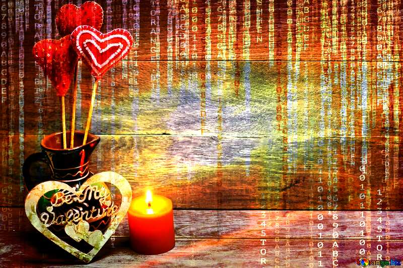 Love background with candles Red Digital technology background with binary code №49216