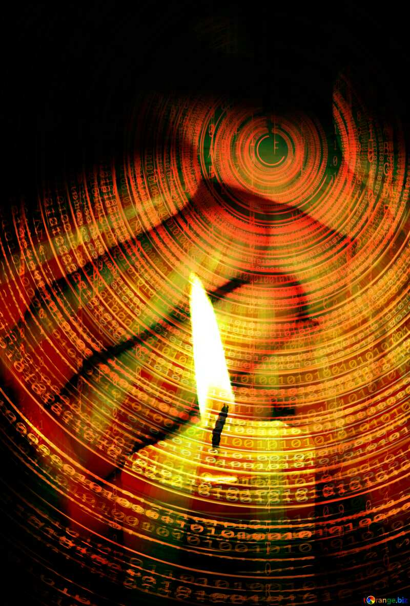 Candle and hands Technology  Futuristic background №18119