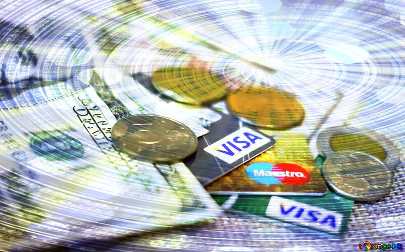Cards Visa in Russia on Digital Binary data  bokeh background №32367