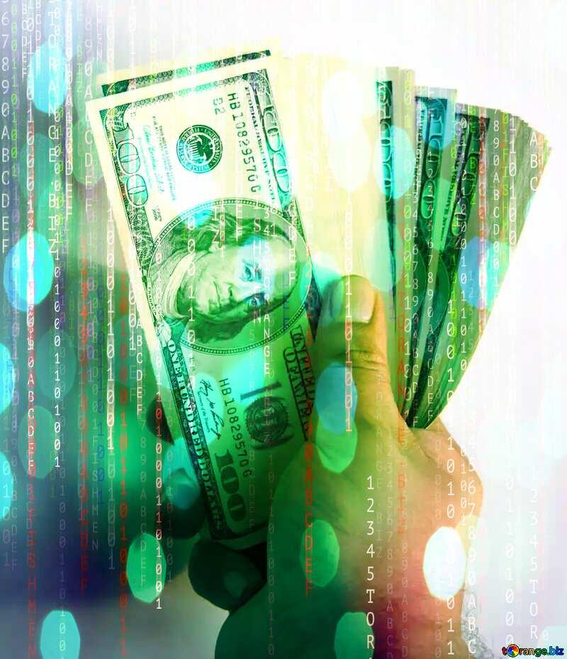 Fan of hundred-dollar bills Digital matrix style background №1528