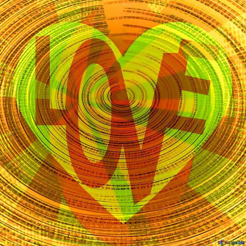 digital yellow orange heart with red love written in it №49672