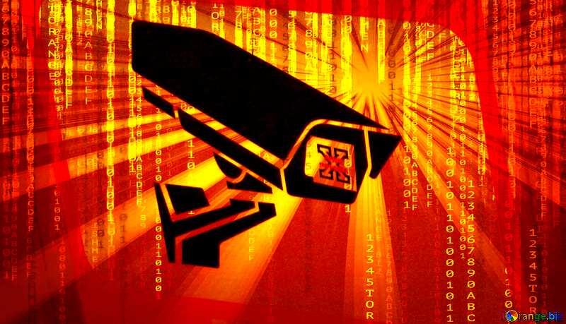Sticker Warning video surveillance Sunrise digital background №48501