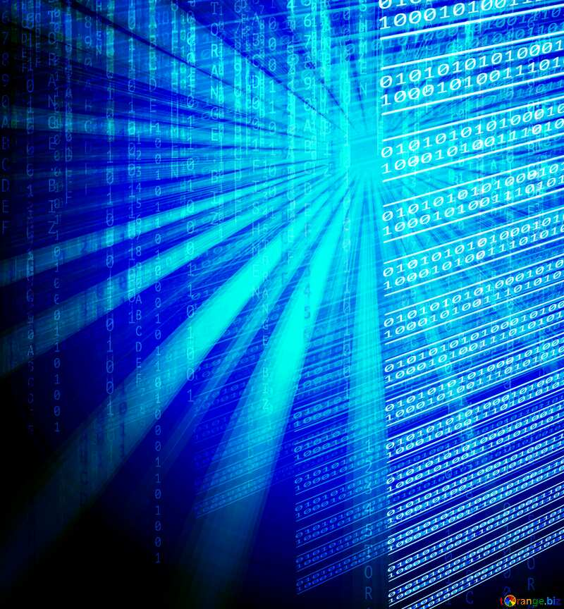 Blue technology background with binary data code  №49673
