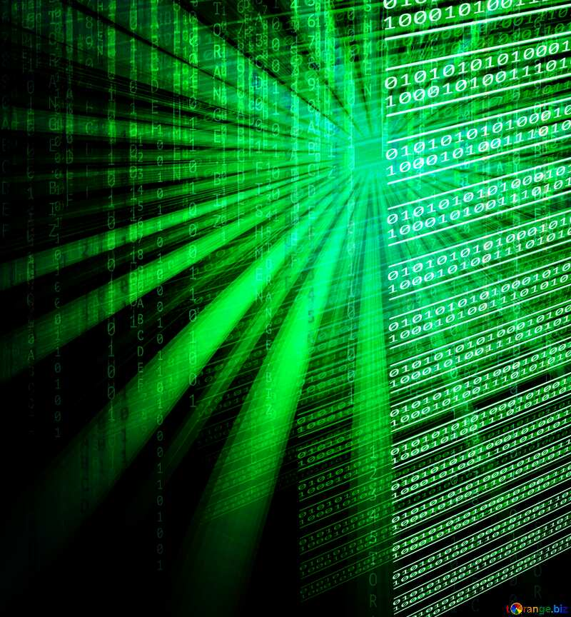 Green Digital internet technology background with binary code and sunrise №49673
