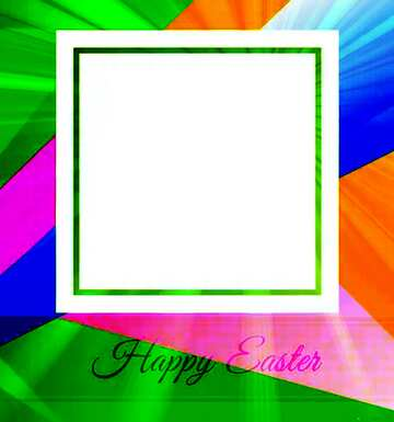 Colorful card template frame with Inscription Happy Easter on Background with Rays of sunlight